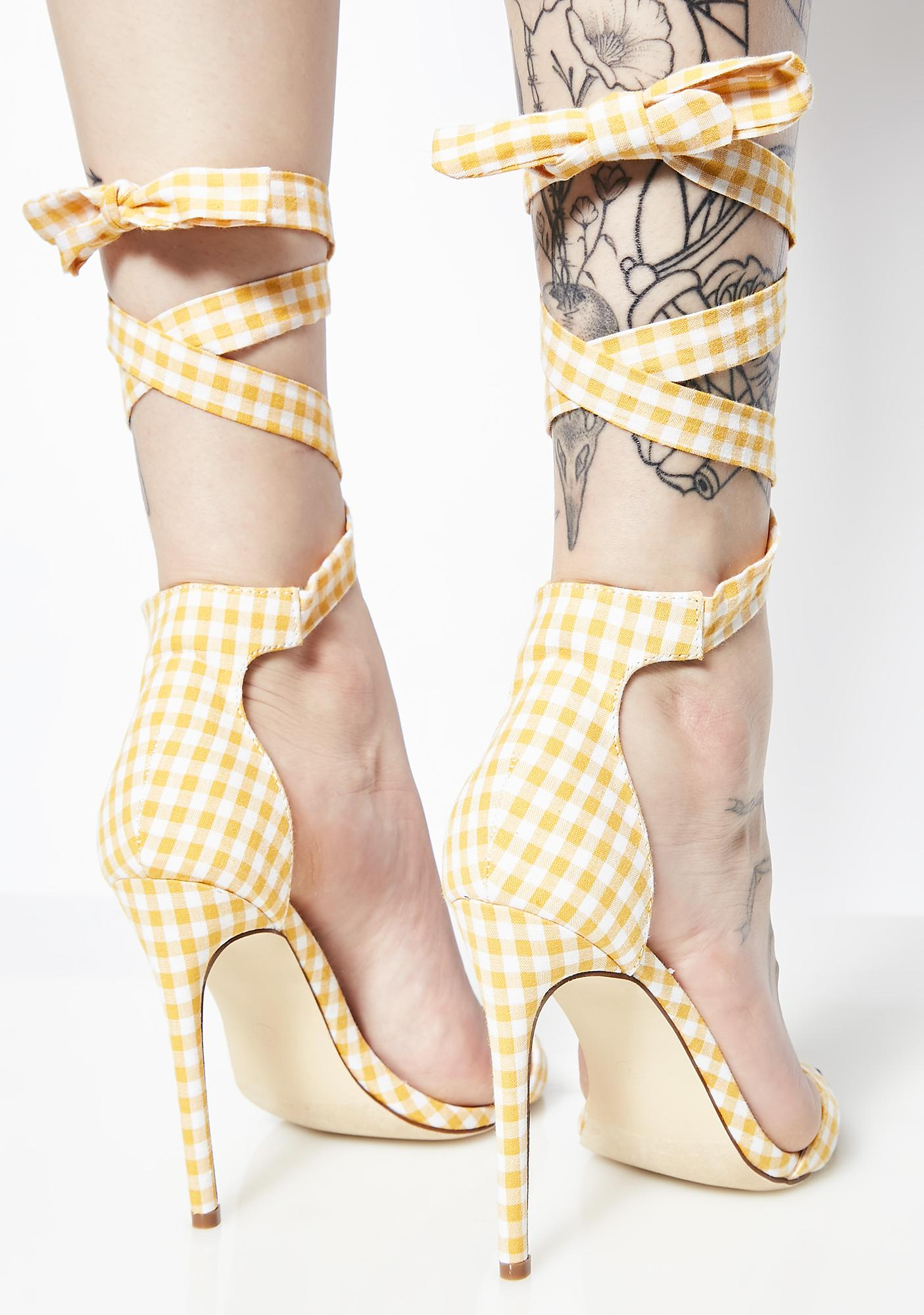 Badly Behaved Gingham Heels