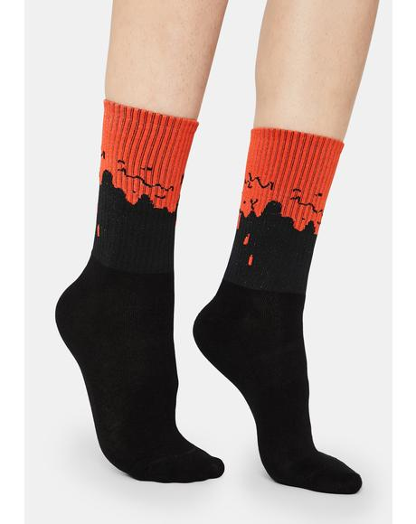 Blood Dripping Crew Socks