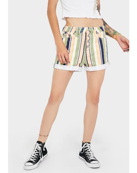 Striped Exposed Button Shorts