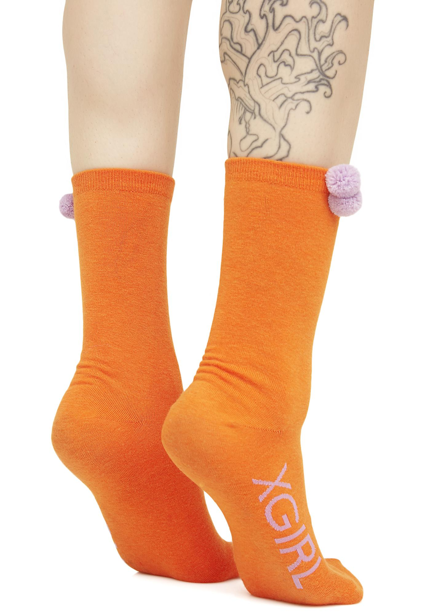 x-Girl Orange Pom Pom Socks