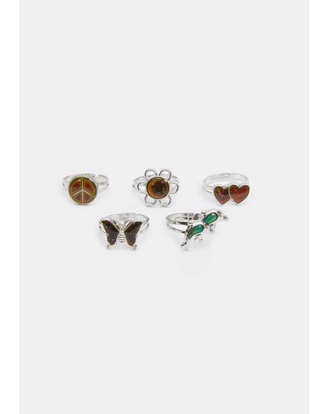 Peaceful Treasure Mood Ring Set