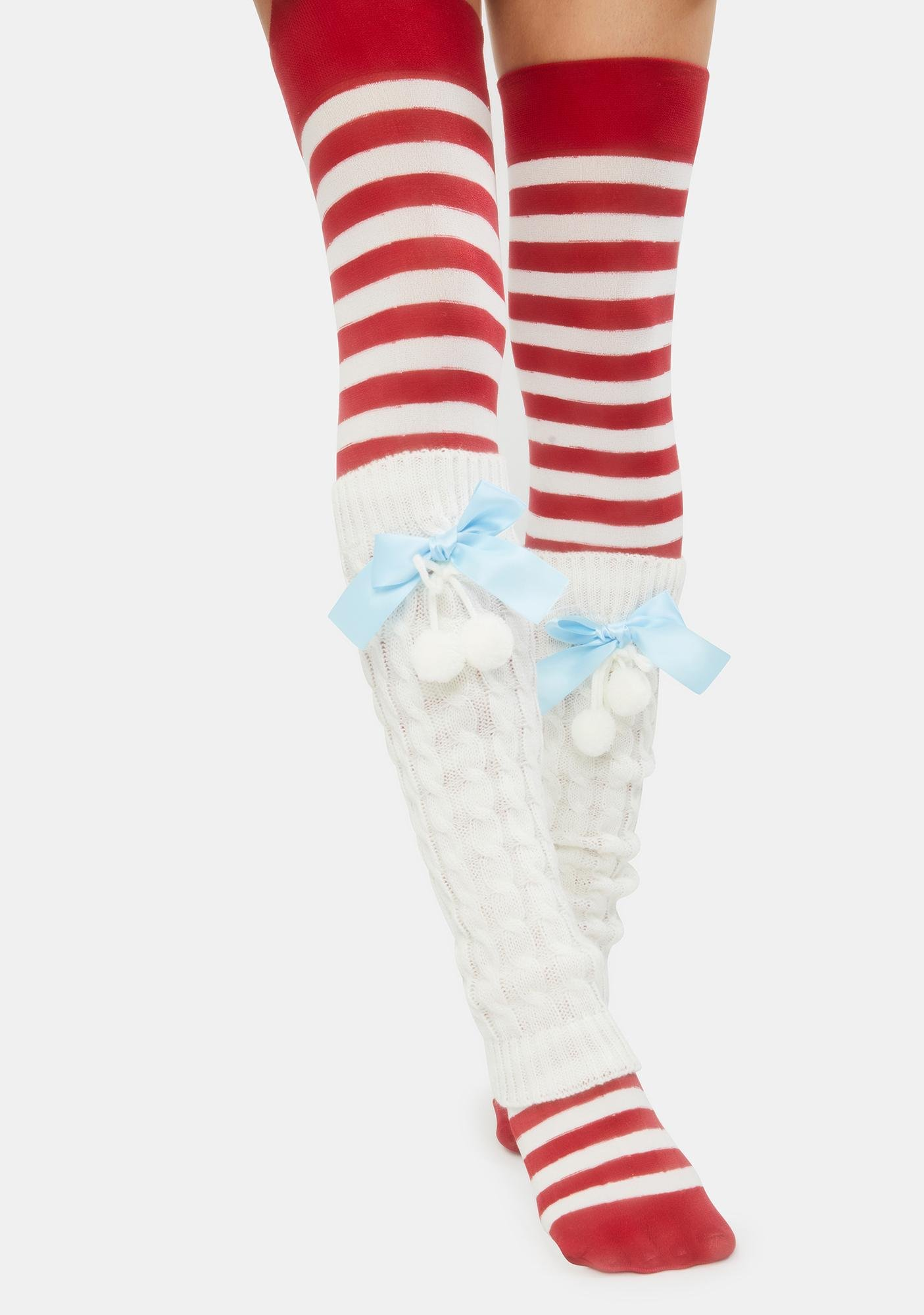 Icy Candy Cane Knitted Legwarmers