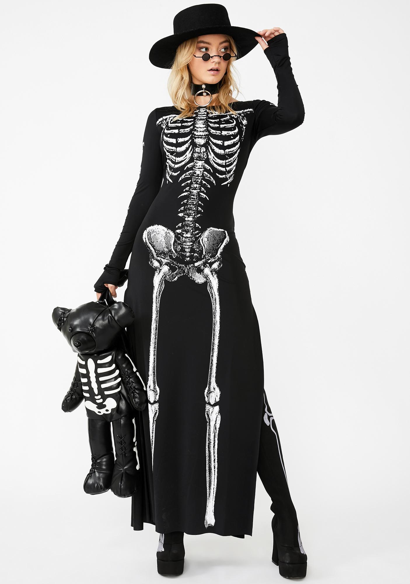 Dolls Kill Bone-afied Babe Maxi Dress