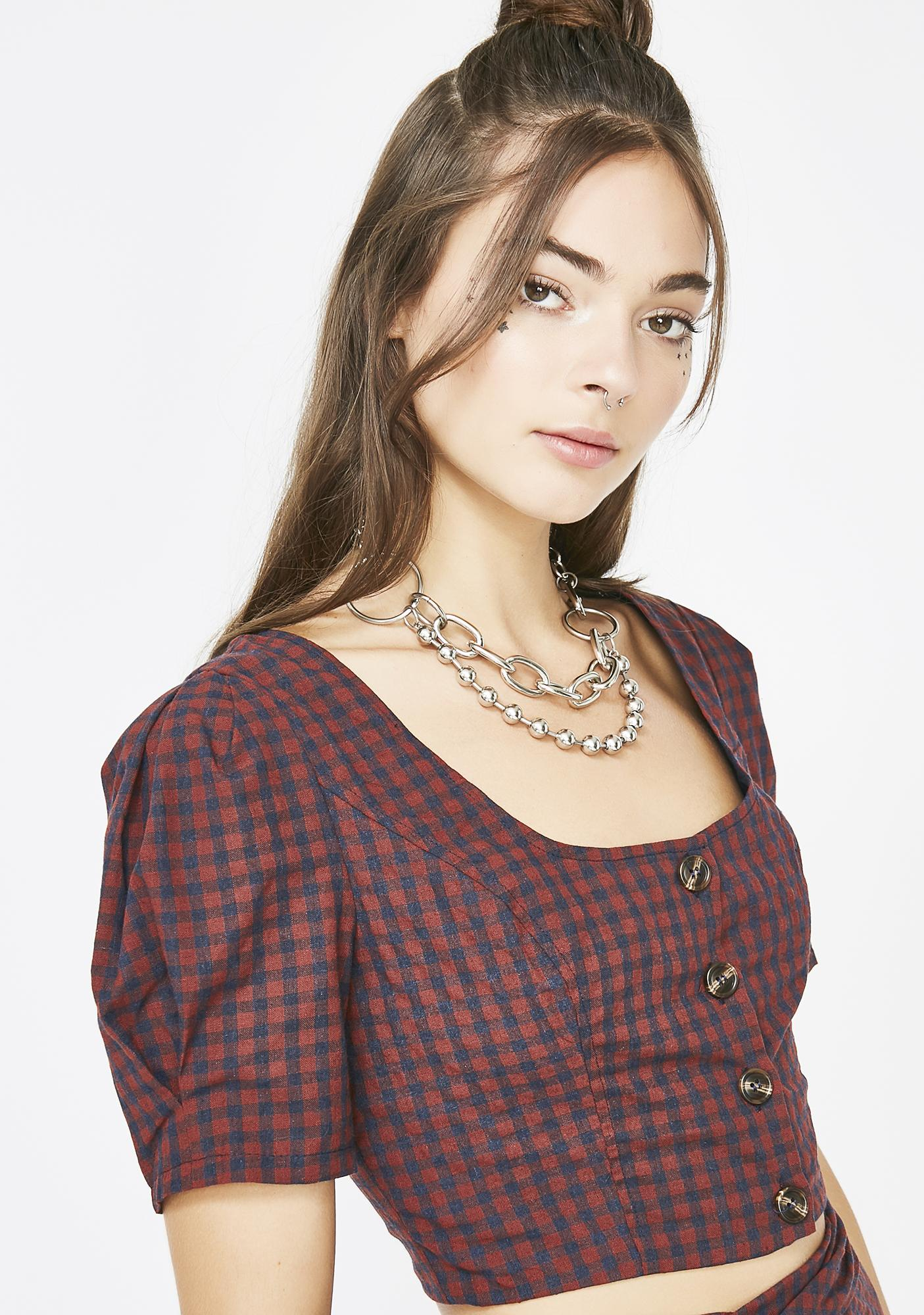 Run The World Plaid Top