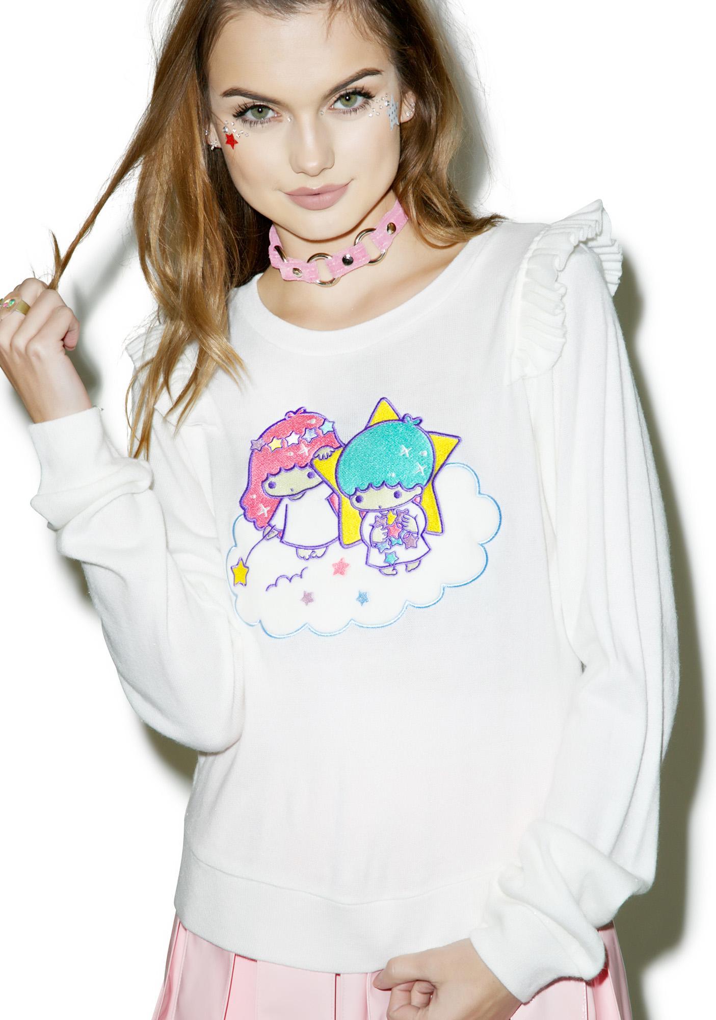 Japan L.A. Little Twin Stars Knit Ruffled Sweater