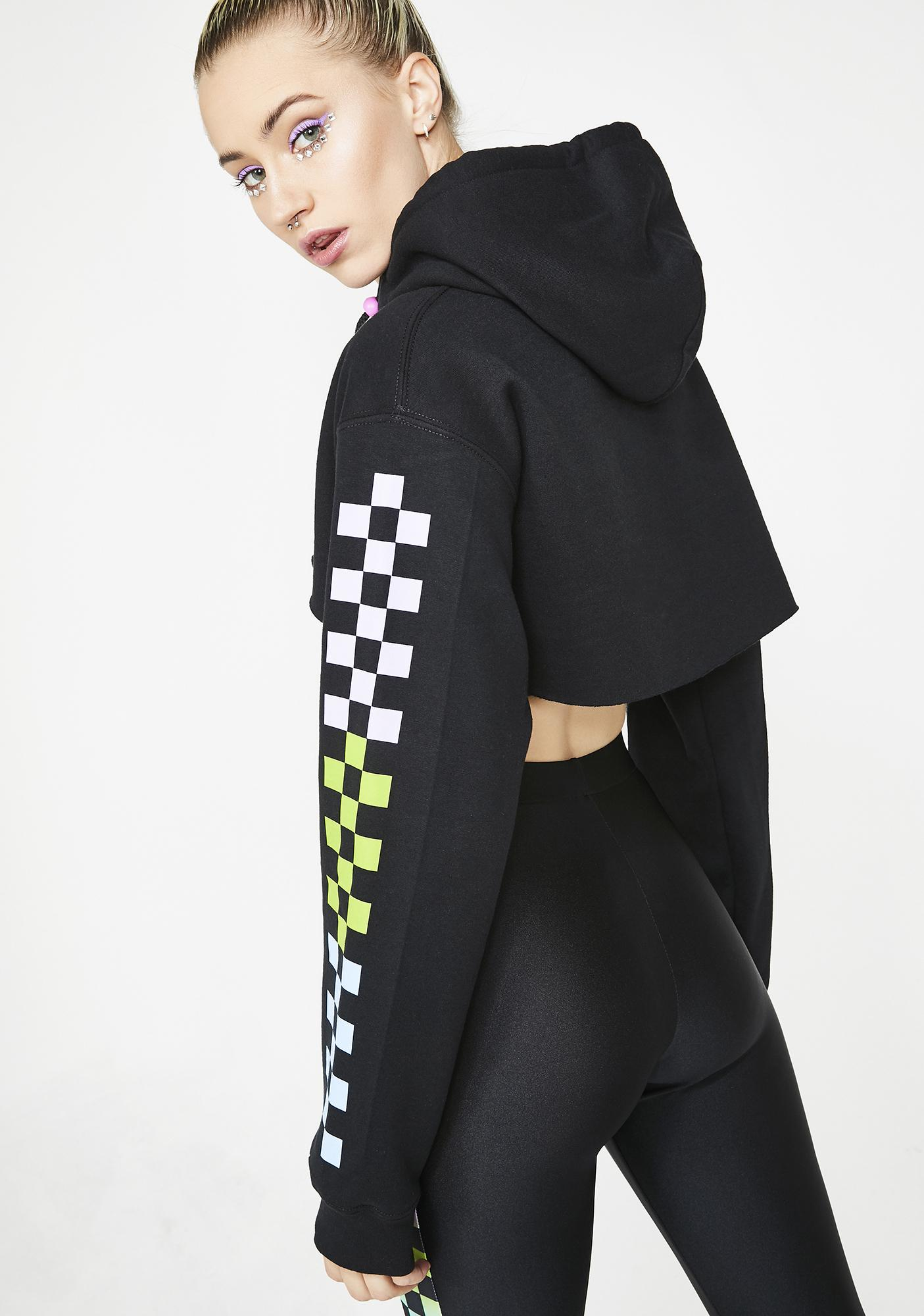 GoGuy Ombre Check Super Crop Hoodie
