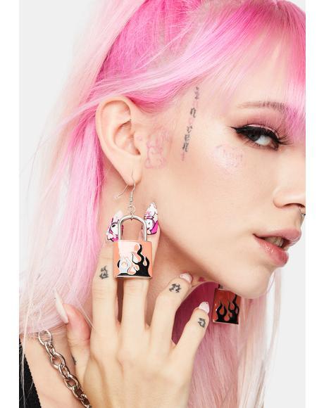 Hot Code Lock Earrings