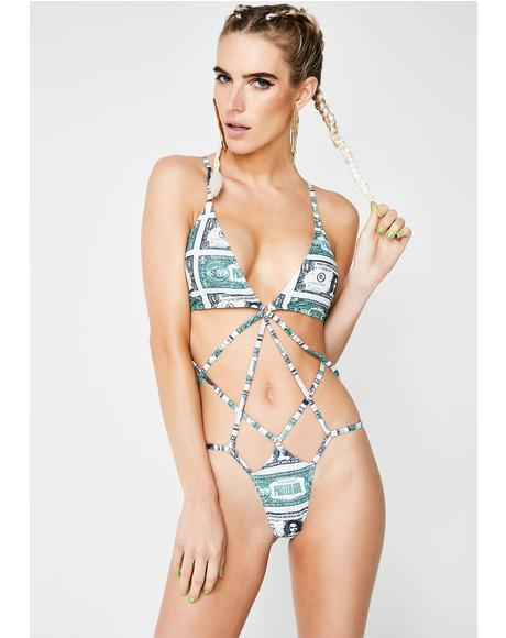 Money Moves One Piece Swimsuit