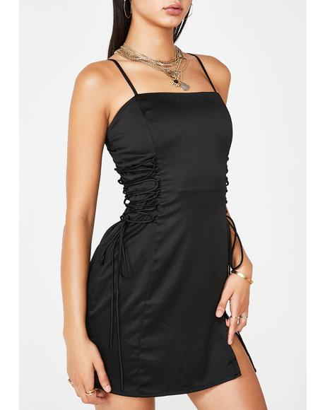 Spoil Myself Lace-Up Dress