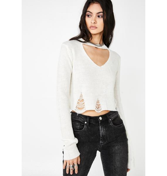 Current Mood Smoke Signals Distressed Sweater