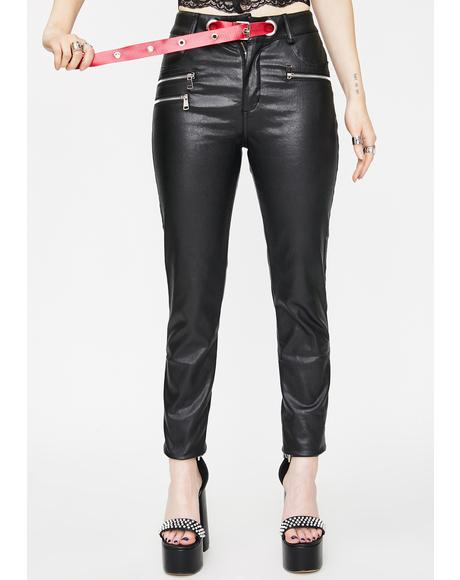 Vegan Leather Slim High Waist Pants