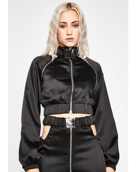 Midnight Put It In Sport Satin Bomber