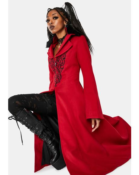 Red Gothic Embroidered Wool Long Coat
