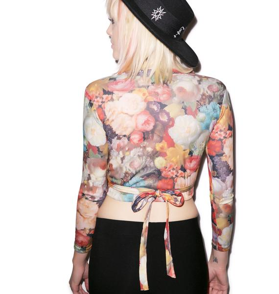 Come Up Roses Wrap Top