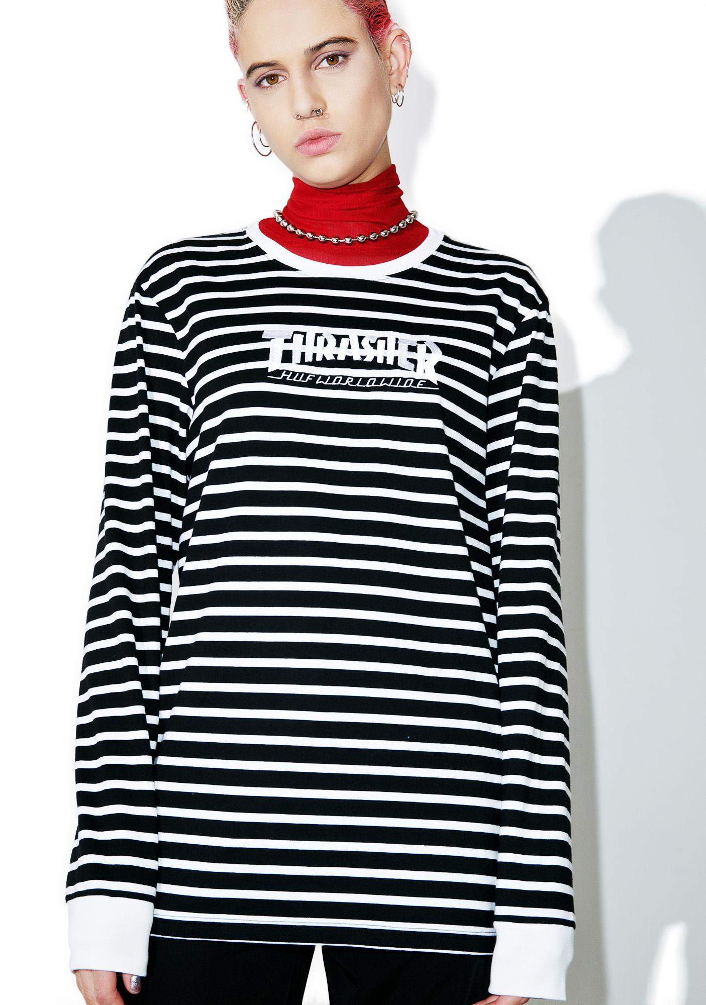 HUF X Thrasher Tour De Stoops Stripe Tee