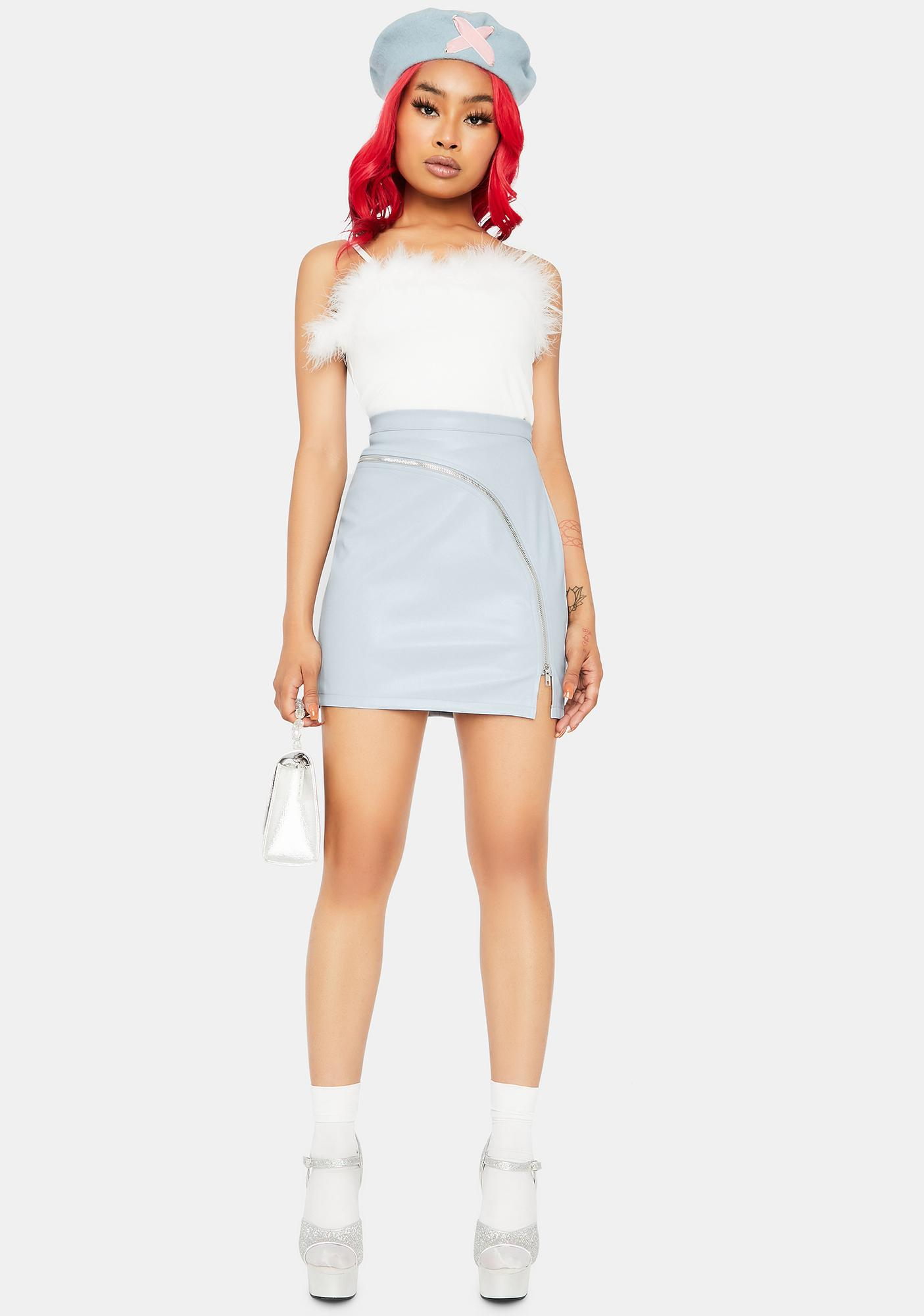 Icy Not Taking Orders Vegan Leather Skirt