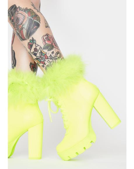Lime Only The Best Marabou Booties