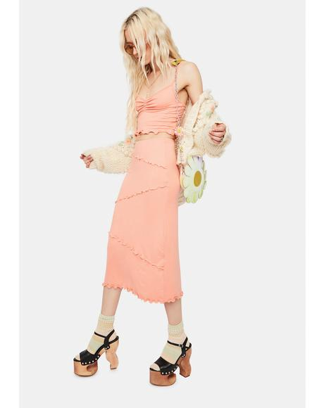 Peach Treat U Right Lettuce Edge Midi Skirt Set