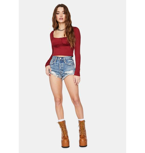 Burgundy Abstract Travels Ruched Crop Top