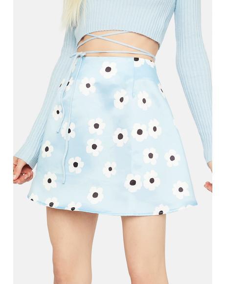 Aqua Spring Bliss Floral Print Mini Skirt