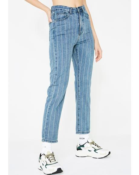 White Striped Denim Jeans