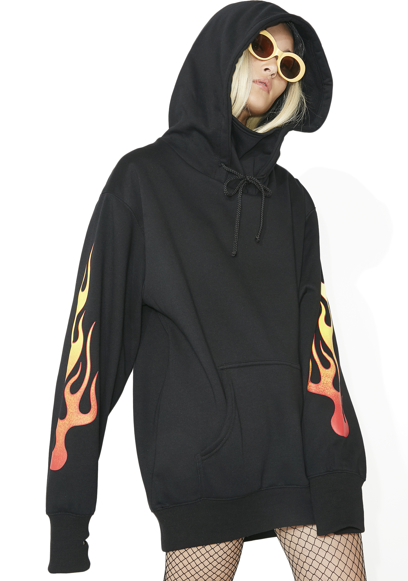 Current Mood Flame Masked Pullover Hoodie Dress Black