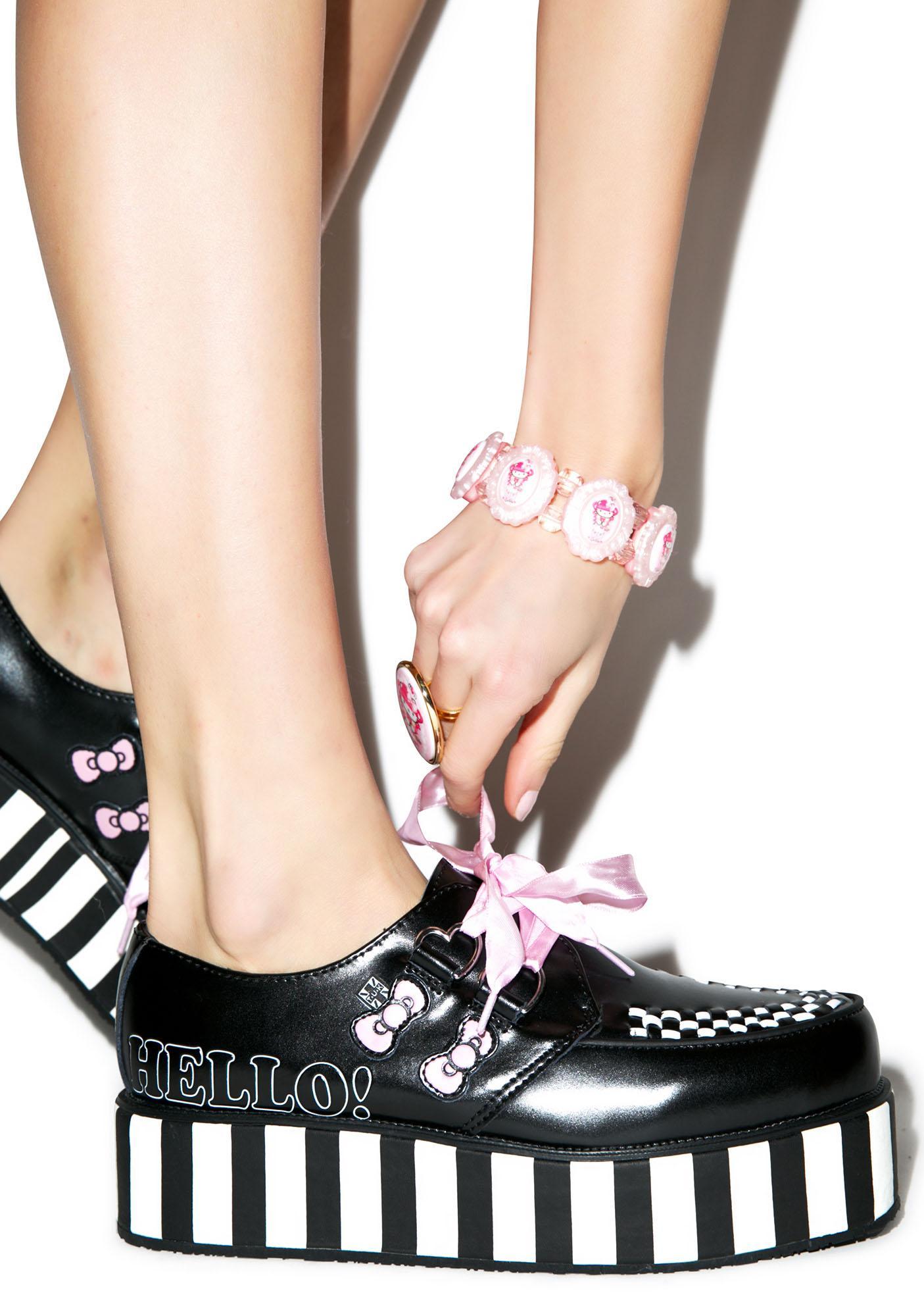 T.U.K. Pink Ribbon Hello Kitty Bow Creepers