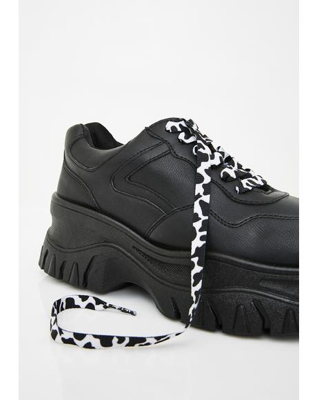 Cow Print Shoe Laces