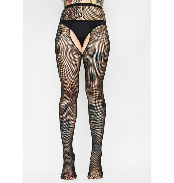 Night Take It Easy Fishnet Crotchless Tights