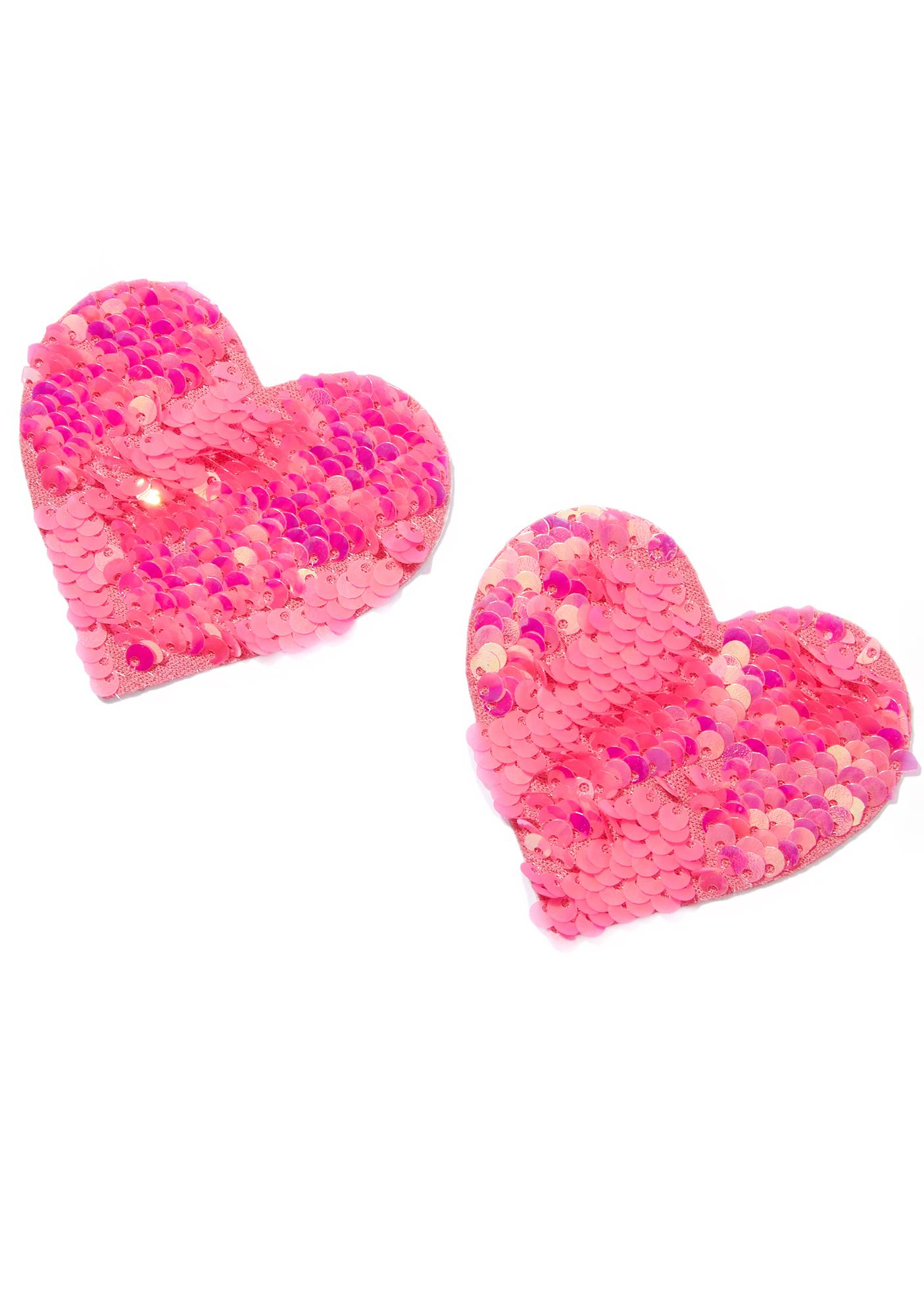 Neva Nude Heart Opal And Pink Sequin Pasties