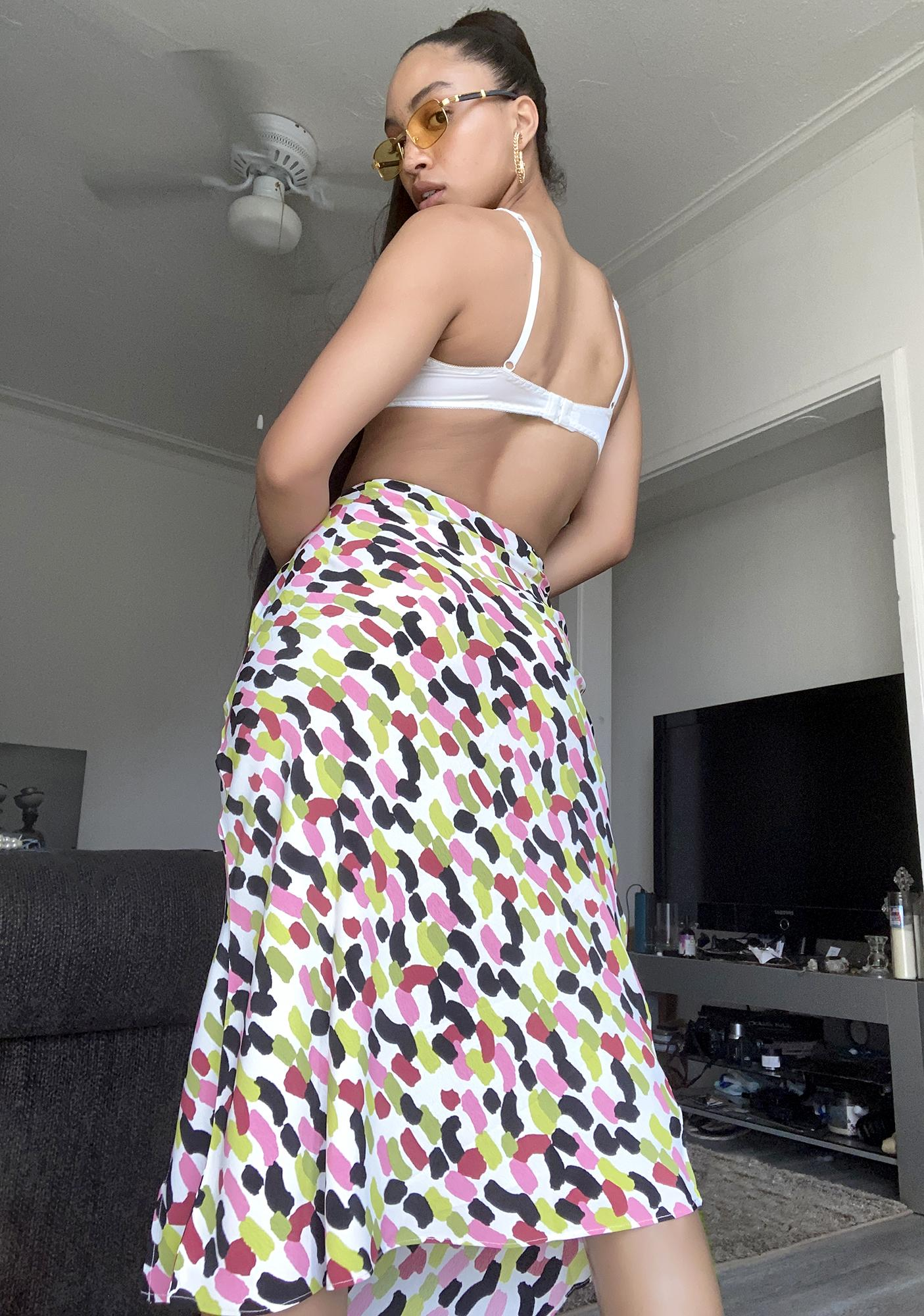 Glamorous Abstract Spot Midi Skirt