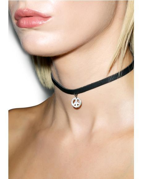 Black Leather Peace Symbol Choker