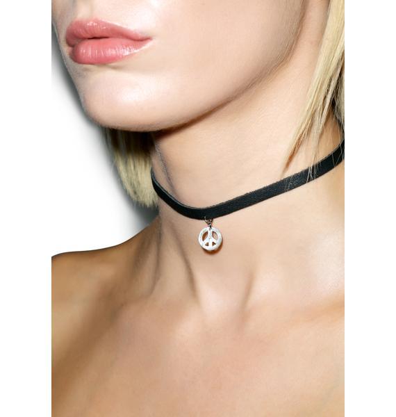 Vanessa Mooney Black Leather Peace Symbol Choker