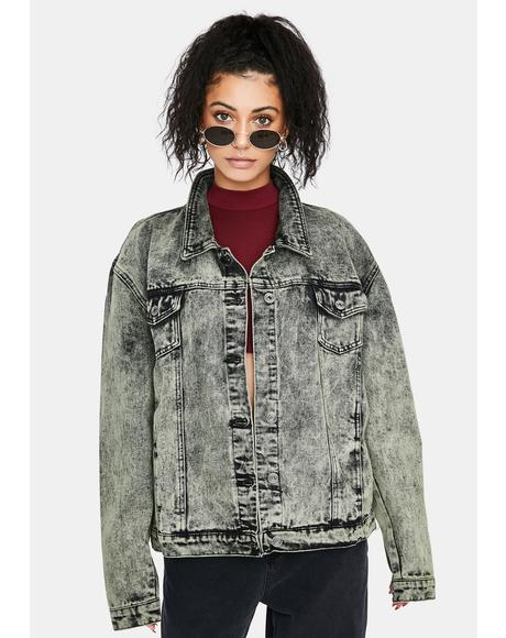 Acid Wash Oversized Denim Jacket