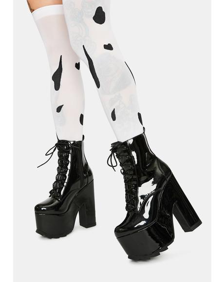 Night Terror Black Patent Platform Boots