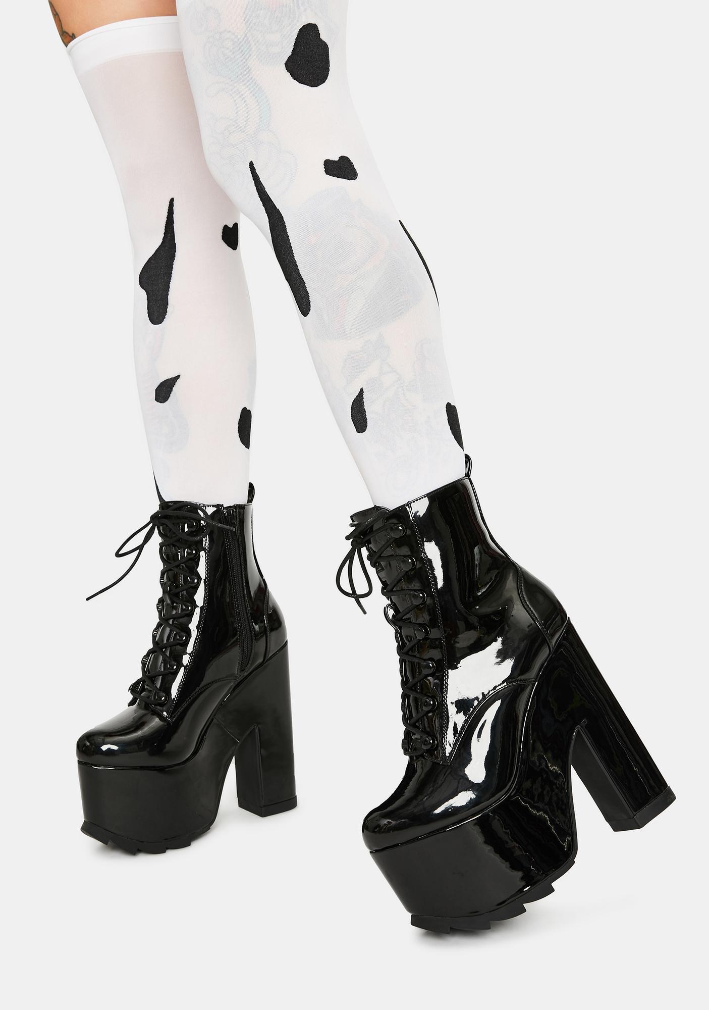 Y.R.U. Night Terror Black Patent Platform Boots