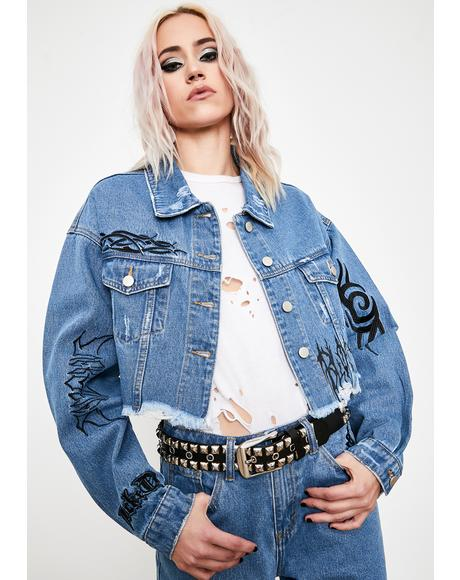 Death Growler Crop Denim Jacket