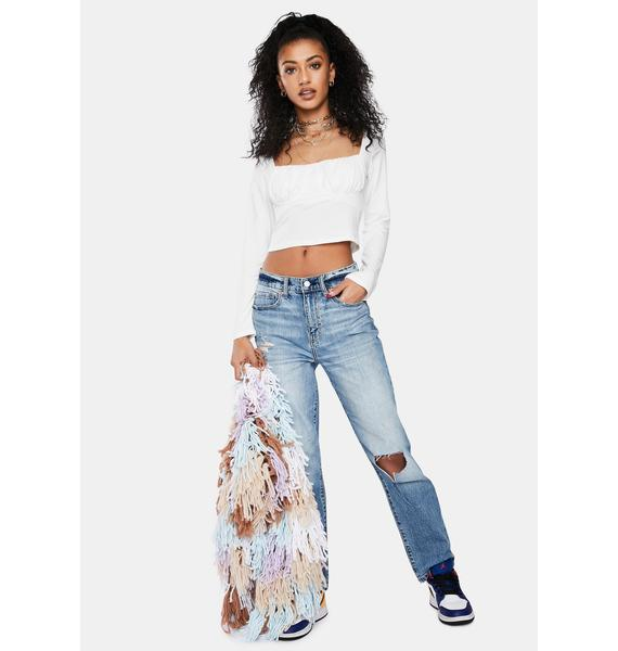 Pure Abstract Travels Ruched Crop Top