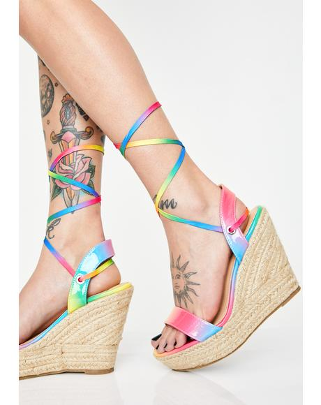 64f9885f6d98 Funky Brunch Babes Lace Up Wedges Funky Brunch Babes Lace Up Wedges ...