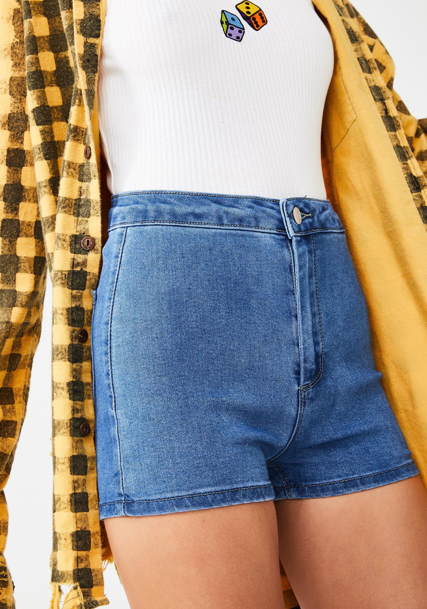 Momokrom Light Wash Mini Shorts