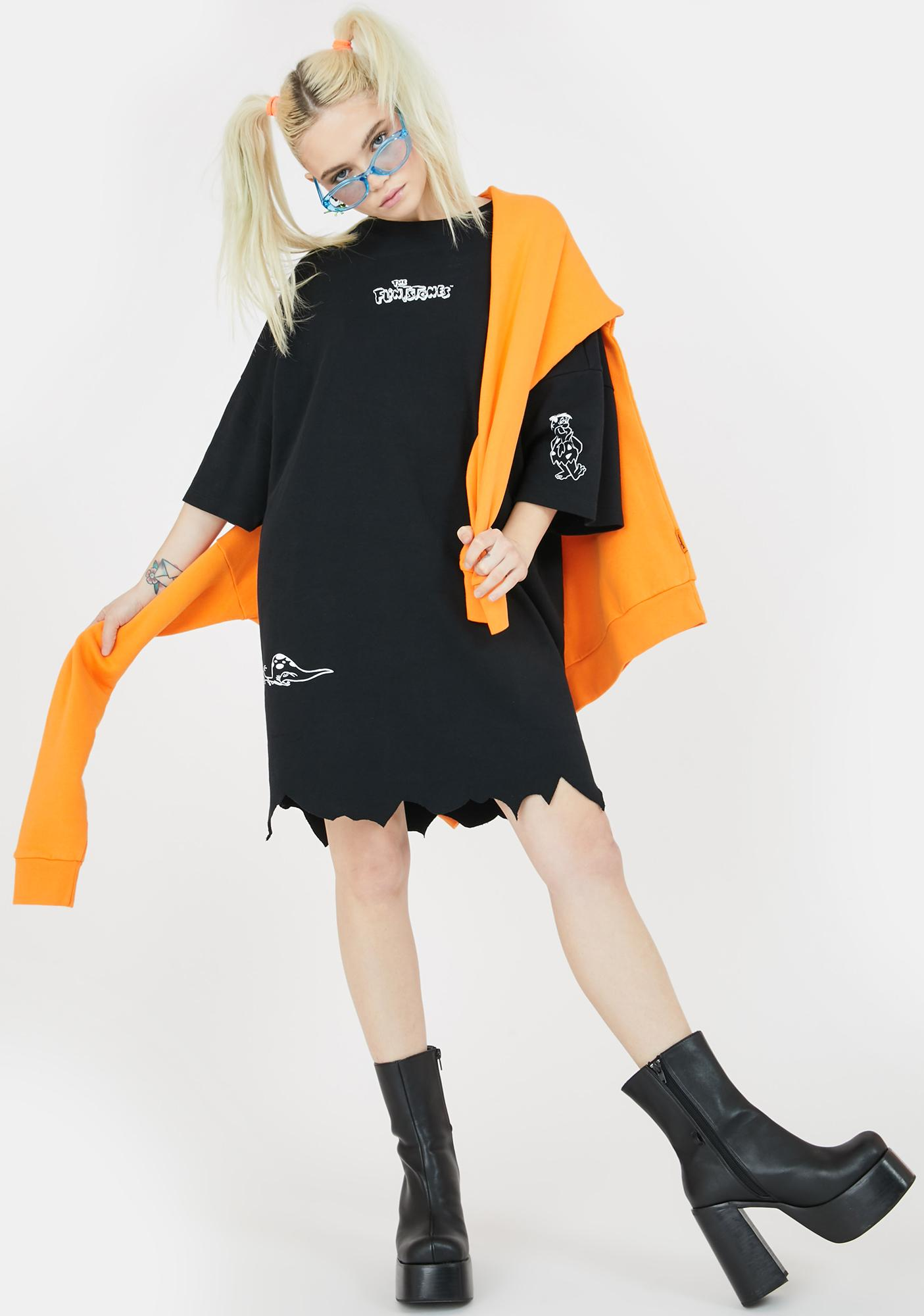 Lazy Oaf X Flintstones Torn Hem T-Shirt Dress