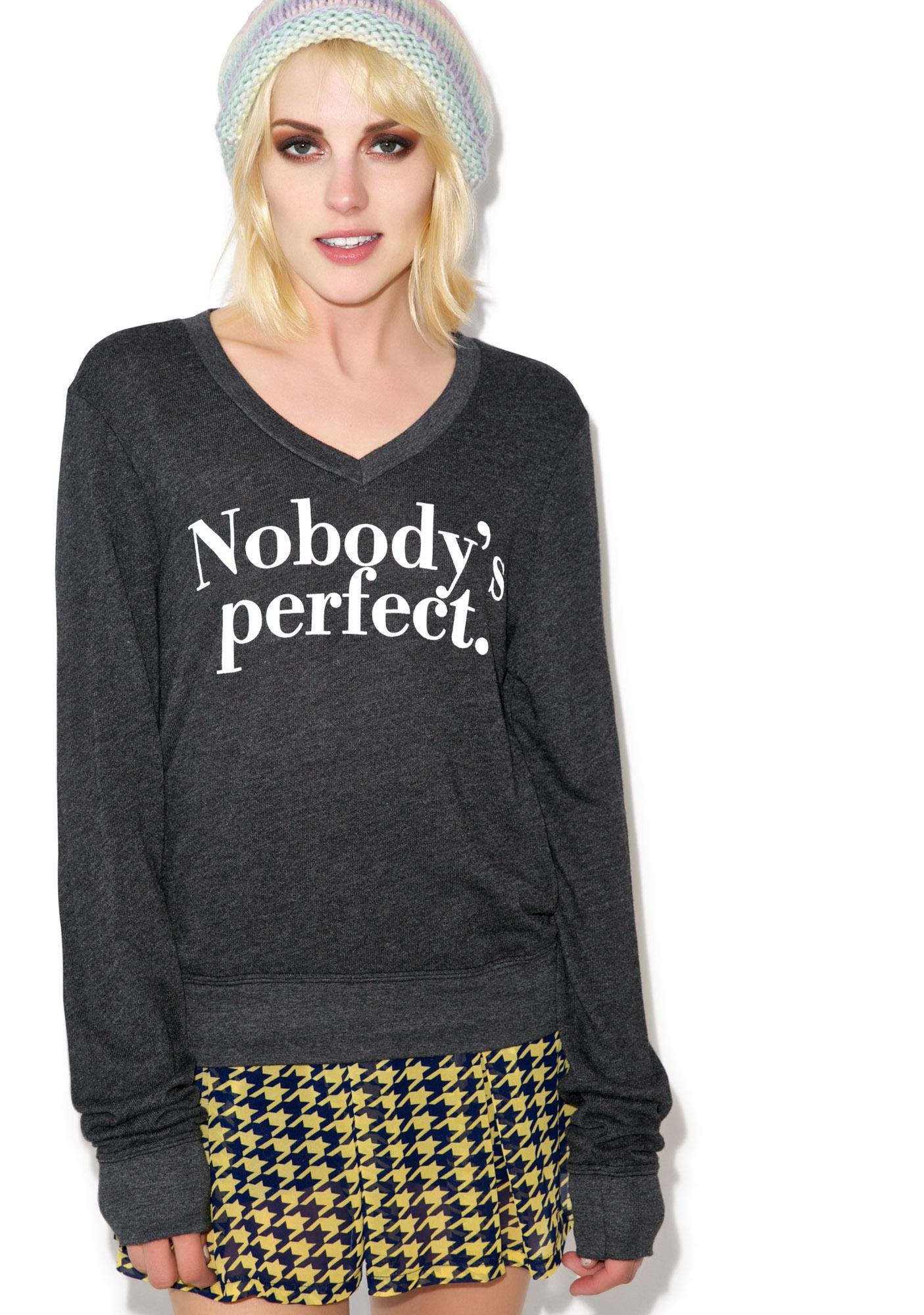 Wildfox Couture Nobody's Perfect V-Neck Baggy Beach Jumper