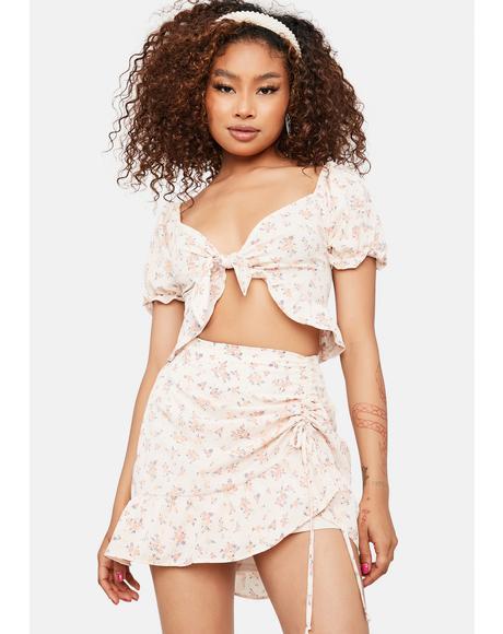 Fluttering Daffodils Ruched Mini Skirt