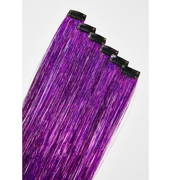 SHRINE Purple Tinsel Hair Extensions