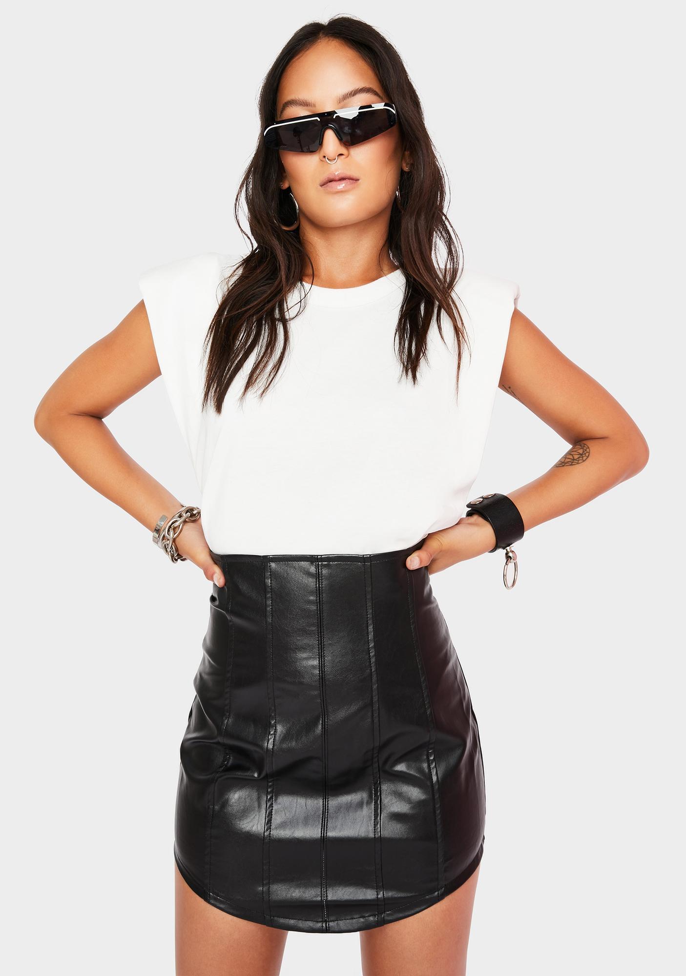 Run This Place Vegan Leather Skirt