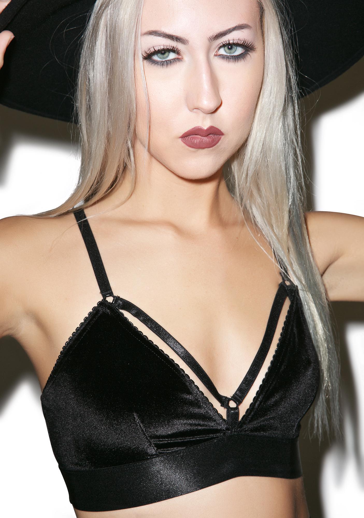 Widow Obsidian Velvet Bralette