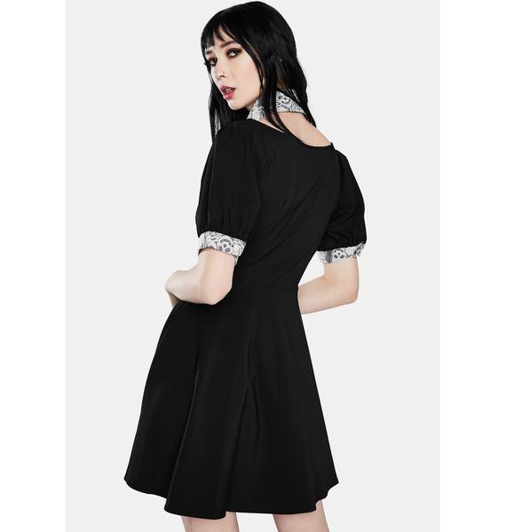 Dark In Love Punk Lapel Collar Short Sleeve Dress