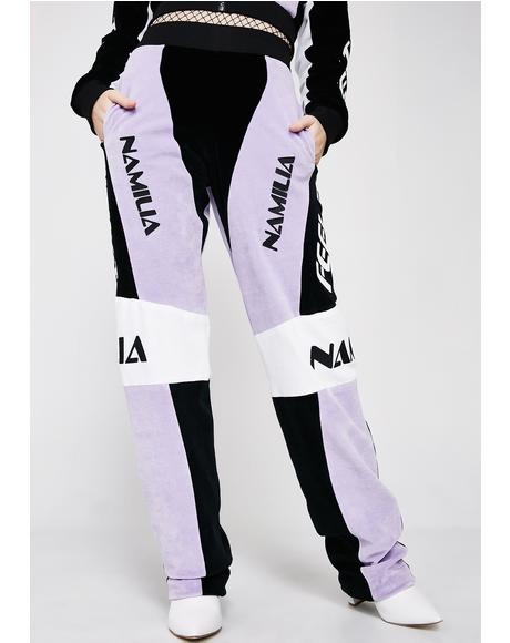 Lavender Velour Motocross Trousers
