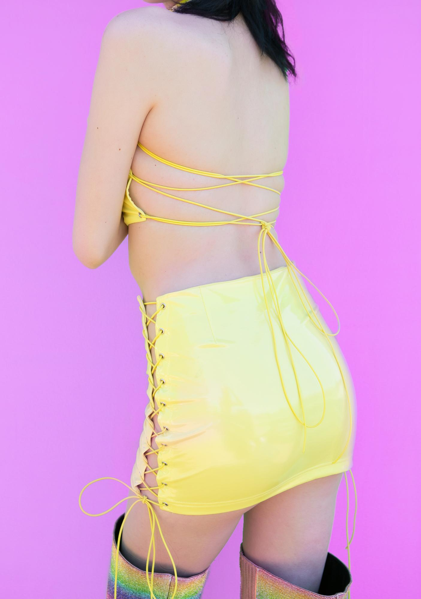Club Exx Honey Live Out Loud Lace Up Skirt