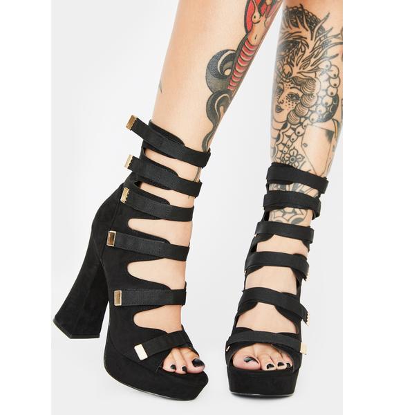 Strap And Scrap Platform Heels